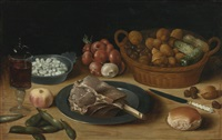 still life of nuts and cucumbers in a wicker basket, onions, beans in a pewter bowl, a wine glass, meat on a pewter plate, a bread roll and other objects, on a wood table by flemish school (17)