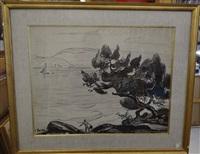 paysage maritime aux arbres by jean misceslas peské