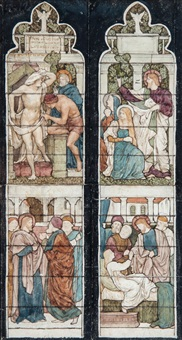 stained glass window designs for the raising of lazarus, st. oswald parish church, grasmere (pair) by henry george holiday