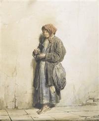 stehende junge frau mit geldmünze by petr petrovich sokolov