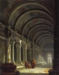 interno di un convento romanico by antonio de pian