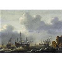 holländische segelschiffe vor felsiger küste by jacob gerritz loef