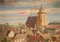 dessau xv. blick über die stadt auf die schlosskirche st. marien by peter foerster