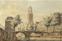view of the gaardbrug, utrecht by pieter jan van liender