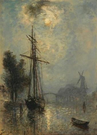 vue du port doverschie by johan barthold jongkind