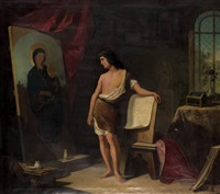 san lucas pintando a la virgen by francisco peralta del campo