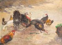 hühnerhof mit truthahn und gänsen by ernst müller-scheessel