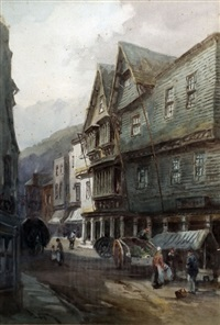 the butter walk, dartmouth and fodd street, dartmouth (pair) by alfred leyman