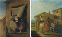 a woman at a balcony (+ a woman standing before a musical group; pair) by leonardo alenza y nieto
