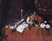 a vanitas still life with a skull, a viol and a violin bow, a pocket-watch, a musical score and other objects, all laid out on a draped table by simon renard de saint-andre