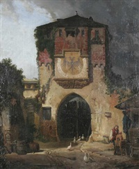 mittelalterliches stadttor (in österreich?) by max bach