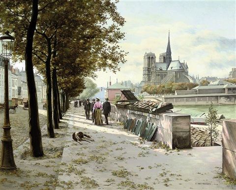 a book stall on the seine notre dame beyond by abel boulineau