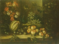 nature morte au bouquet de fleurs de fruits disposés sur un entablement by francesco della questa