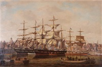 a busy dutch harbour side with clipper ships and rowing boats by denzil smith