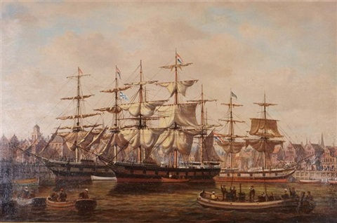 A busy Dutch Harbour Side with clipper ships and rowing
