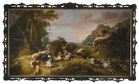 a bear hunt with dogs, hunters and a moor on horseback by frans snyders