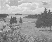 view across the fairway, looking toward the green by joseph b. kahill