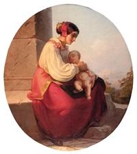 donna con bambino by nicolo barabino