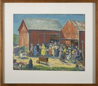 a general store in winter (+ a country auction, serigraph; 2 works) by harry shokler