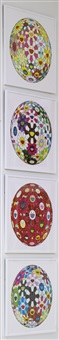 flowerball margaret (3-d); flowerball brown; flowerball (3-d) red cliff; flowerball blood (3-d) v (4 works) by takashi murakami