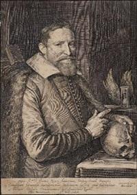 bildnis des joannis neyen, ordensgeneral der franziskaner, mit totenschädel und stundenglas (after michiel van mierevelt) by jan harmensz muller