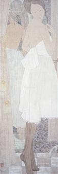 晚妆 镜框 设色纸本 by deng xianxian