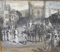 militaires devant une porte de ville by lucien laurent-gsell