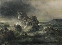 stürmische meeresküste mit ruderboot in seenot by theodor köppen