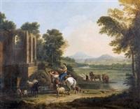personnages et animaux dans un paysage avec ruines by henri-joseph antonissen