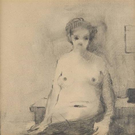 esquisse de jeune femme (sketch) by paul delvaux