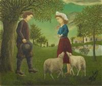 la demande en mariage (couple de paysan avec des moutons) by andré bauchant