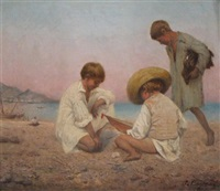 three boys on the beach by attilio baccani
