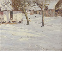 winter trees on the farm by george oberteuffer