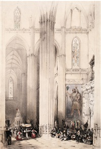interior de la catedral de sevilla by david roberts