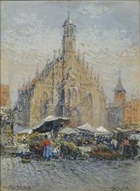 blumenmarkt vor der liebfrauenkirche in nürnberg by wilfried j. lineham