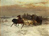 a troika sledge on the snows by fritz van den daele