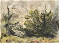 landscape with larch trees by henry varnum poor