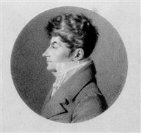 a portrait of jean-phillipe bronner, half length, in profile to the left by jean jacques karpff