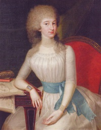 portrait of a lady in a white dress with a blue sash, holding a pencil, her right arm resting on a table by johann heinrich tischbein the younger