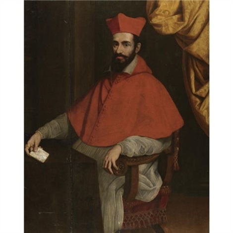 portrait of a cardinal seated behind a desk holding a note in his right hand by scipione pulzone