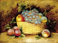 fruit still life (+ fruit still life; pair) by evelyn (née davy) chester