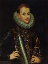 portrait of philip iii of spain wearing armour and the order of the golden fleece by bartolomé gonzalez