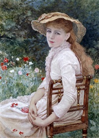 young lady seated in a garden by edward killingworth johnson