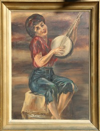 untitled - banjo player by stanley sobossek