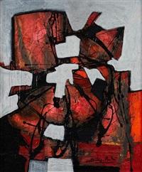 composition abstraite rouge by dominique andré