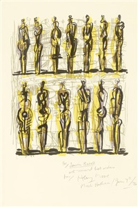 thirteen standing figures, from heads, figures and ideas by henry moore