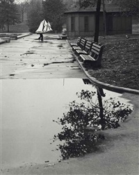 east walk of conservatory pond, central park, 1944 by andré kertész
