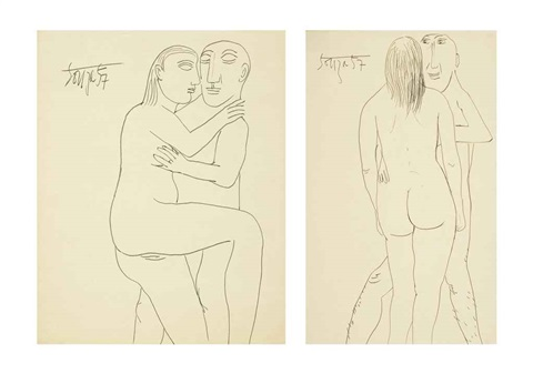 untitled lovers 2 works by francis newton souza