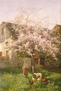 mädchen mit hühnern und einem lamm unter einem blühenden kirschbaum by johannes leonhard