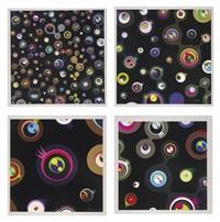 jellyfish eyes - black 1; jellyfish eyes - black 2; jellyfish eyes - black 3; and jellyfish eyes - black 5 (4 works) by takashi murakami